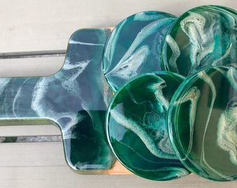 """Resin cheese board and coaster set """" Golden Forrest """", gift set"""