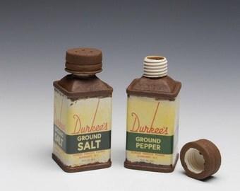 """Porcelain Salt & Pepper Shakers """"Durkee's"""""""