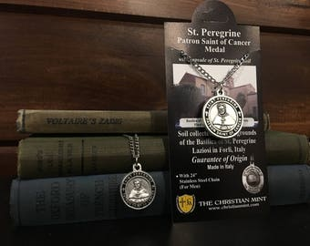 St Peregrine Patron Saint of Cancer Medal w/ Capsule of St Peregrine Soil - With Chain