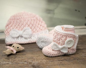 Crochet Hat Pattern and Crochet Booties Pattern with Bows, Crochet Baby Hat Pattern and Baby Booties Pattern for New Baby Girl, Pdf Pattern