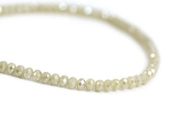 Chinese Crystal Tiny Rondelles in Pale Beige Off White with Hint of Gray AB Finish Beads  3x4mm