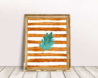 Botanical Leaf Art | Palm Leaf Print, Palm Leaf Printable, Nursery Leaves Art, Nursery Leaf Art, Leaf Painting Print, Leaf Paint Print