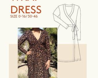 wrap dress PDF sewing pattern|DVF jersey wrap pdf dress pattern|Womens kimono dress pattern PDF knit jersey dress apparel pattern for sewing