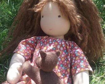 Waldorf Doll with kitten.