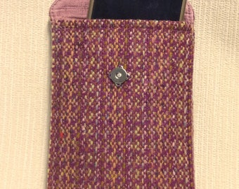 Welsh tweed phone case, cell case in pink
