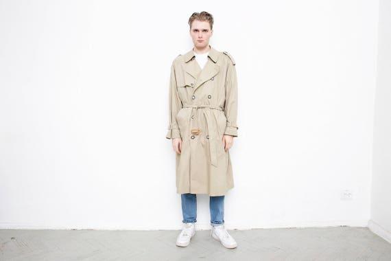 Vintage TRENCH Coat . 80s Detective Coat Long Jacket Beige Men's Duster Coat 1980s Belted Rain Coat Long 70s Retro Outerwear . size Large 0hTbkg3