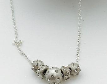 Sterling Silver-Sparkle-Ball-Rondelle-Pendant-Necklace