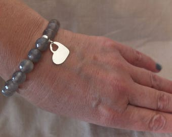 Semi precious stones bracelet, gray agate with sterling silver heart pendant