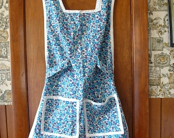 Handmade Vintage Smock Apron with Blue Flowers