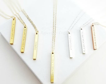 Personalized Vertical Column Bar Necklace | 4 Sided Bar | latitude longitude Location GPS Coordinate | 3D Column Bar | Name bar