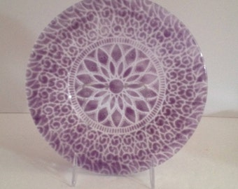 """Sydenstricker Glass Embassy Pattern 8 1/2"""" Luncheon Plate in Lavender Over Clear - Signed; New Vintage"""