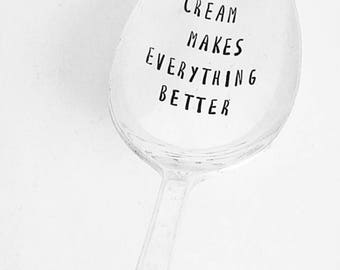 Ice Cream Makes Everything Better / Engraved Spoon / Bad Day / Fun Gift / Ice Cream Lover / Breakup Gift / Vintage Spoon / Impressions