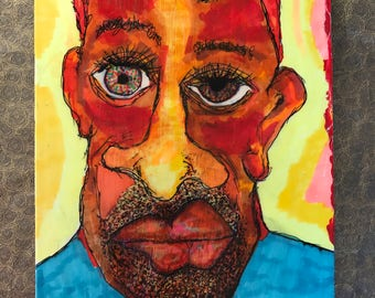 Wall, folk, outsider, art, Intense, face, colorful, painting, original, Larry Cutler, Sale, from Art show, OOAK,