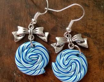 Earrings - blue Lollipop and bow charm