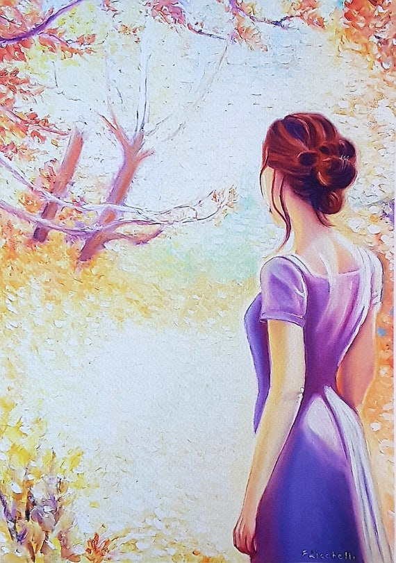 Woman turned her shoulders with autumnal landscape, giclée fine art print of original artwork, oil on canvas, important gift idea, wall art.