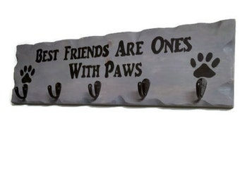 Best Friends Paws Dog Leash Holder, Paws Dog Collar Hanger, Dog Leash Hook , Custom Dog Leash Holder, Dog Leash Hanger, Dog Organizer