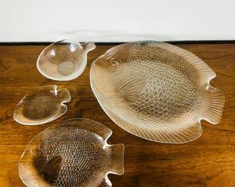 Arcoroc 'Poisson' France Clear Pressed Glass Dinnerware | Fish Platter, Dinner, Salad, Dessert, Bowl
