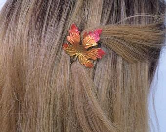 Leaf hair Pin, Bobby pin leaf. fall leaves