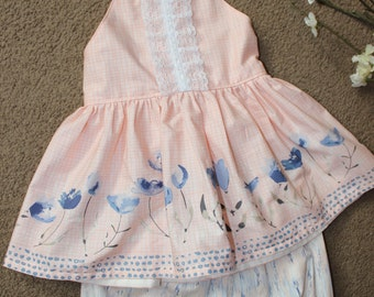 BUTTERCUP - halter, top, pink, lace, flowers, toddler, girls, boutique
