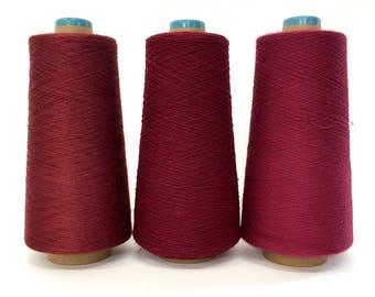 SAORI Cotton Yarn on Cone - Dark Red - Set of Three - Weaving Arts Austin