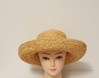 Vintage Handmade Helen Kaminski Wide Brimmed Designer Raffia Straw Sun Hat