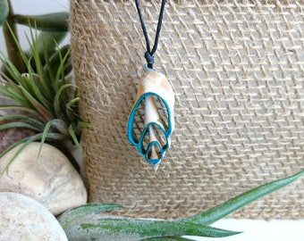 Seashell Mermaid Necklace - Blue Seashell Necklace - Blue Seashell Pendant - Beach Necklace - Knot Nautical Necklace - Cotton Cord Necklace