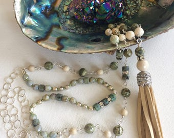 Rhyolite, Heishi, and Riverstone Tassel Necklace, Wire Wrapped, Hand Knotted, Sterling Silver, Layered Necklace