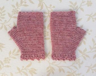 Fingerless crochet gloves, pure wool mittens, crochet gloves, winter glove, handwarmers, women's gloves, winter accessory