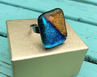 Dichroic GLASS RING - Fused Glass Ring - Adjustable Ring - Cobalt Blue Orange Glass Ring