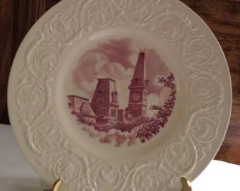 Wedgwood Etruria England Wesleyan College Plate, 1936