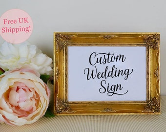 Custom Wedding Sign, Personalised Wedding Signage, Printed Wedding Sign, Made to Order, Personalized Sign, Modern Calligraphy, FREE SHIPPING
