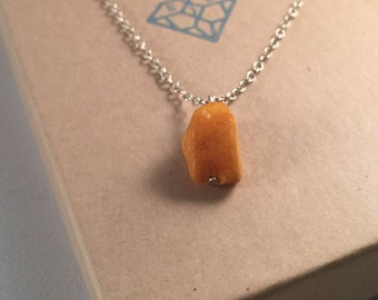 Amber Stone Pendant with Sterling Silver Chain  - Eco Jewellery, Eco Silver Pendant