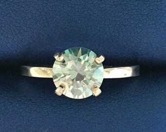 Moissanite solitaire, moissanite ring, blue moissanite, silver ring, solitaire ring, ethical ring, conflict free ring, blue gemstone,