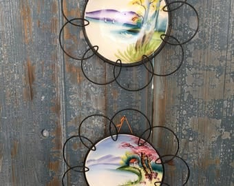 2 Handpainted Plates with Wire Frames