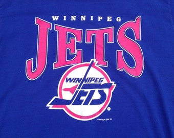 Vintage 1991 90's Winnipeg Jets t-shirt by Woody Sports XL Made in Canada