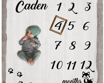 Custom Baby Blanket - Fox Milestone Blanket - Age Blanket - Baby Milestone Chart - Baby Month Blanket - Baby Photo Prop - Growth Blanket