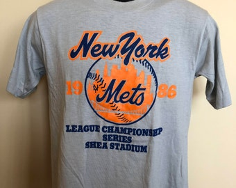 1986 New York Mets Champs Shirt Vintage Tee 80s World Series Champions Shea Stadium MLB Baseball Major League Playoffs Series NYC USA Medium