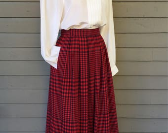 """Red and Navy Plaid Pleated Skirt with Pockets by Liz Claiborne Size XS 