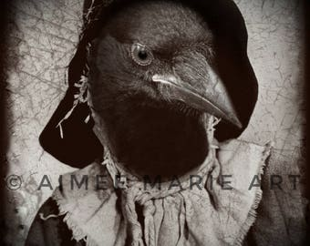 Crow Print, Crow Art, Dark Art, Halloween Art, Crow Gift, Creepy Art, Quirky Art, Gothic Art, Photo Prints, Halloween Decor, Animal Prints