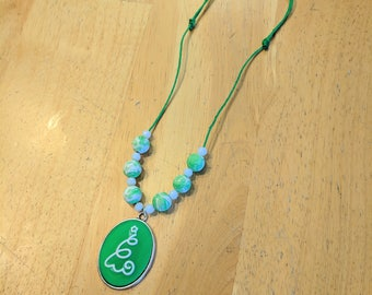 CLEARANCE, Christmas Tree Necklace, Adjustable Hemp Necklace, Green Christmas Necklace, Holiday Necklace, Green Hemp Necklace