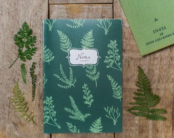 Fern Notebook - blank pages, A5 size.