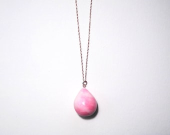 Blush Pink Teardrop Necklace, Millennial Pink Jewellery, Ceramic Pendant, Unique Gift for Her, Statement Necklace for Women, Gold Necklace