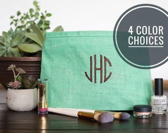 Makeup Bag for Bridesmaids, Personalized Bridal Party Gift Ideas, Custom Bridesmaid Make Up Bags, Monogram Cosmetic Pouch, 533429191