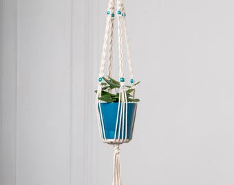 With flower pot, small hanging planter in macramé, turquoise beads: 70 cm