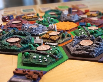 3d Settlers of Catan set // Handmade and Handpainted boardgame // Sculpted 3d terrain tiles //