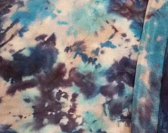 Beautiful blue silk scarf, Handmade, hand-painted unique wearableart, Mens scarf, Women's Silk Scarf, Luxurious Silk Scarf/Shawl/Wrap/Sarong