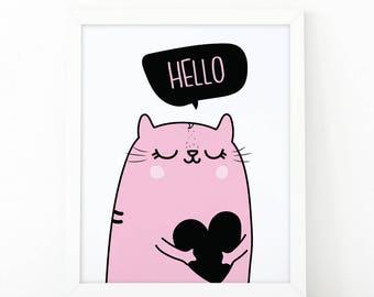 Hello, Heart print, cute Cat printable, Nursery Wall art, girls wall art, nursery decor, Printable art, scandinavian art, cute wall art, cat