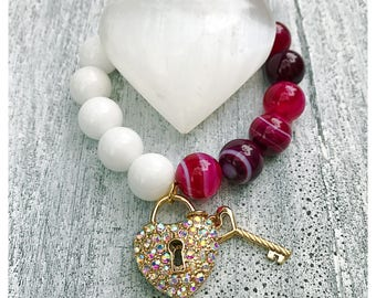Key to my heart  14mm white and  pink banded agate charm  bracelet