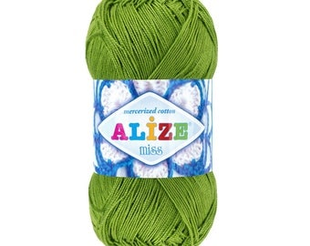 ALIZE MISS cotton yarn crochet cotton yarn spring yarn summer yarn color choice hand knit yarn Mercerized Cotton