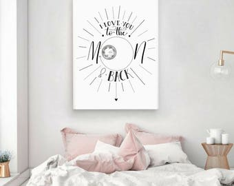 I Love You To The Moon & Back Printable Nursery Sweet Baby Anniversary Wedding Bedroom Valentine Wall Art